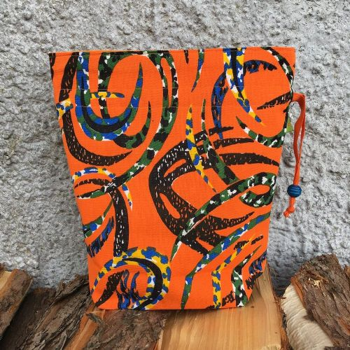 Vintage Fabric Knitting Bag - Orange Swirl